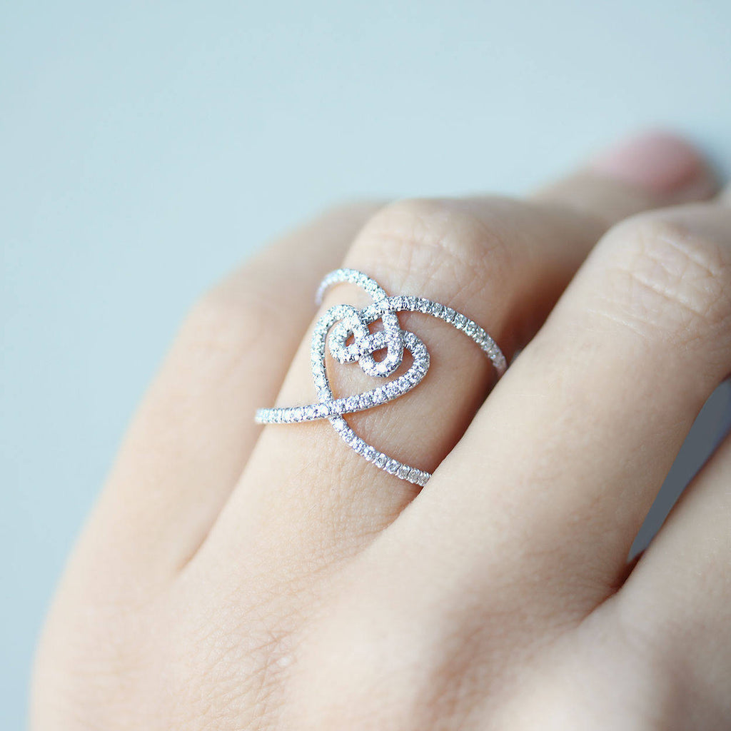 Hearts Lock Unique Statement, Wide Lace Diamond Ring - sillyshinydiamonds