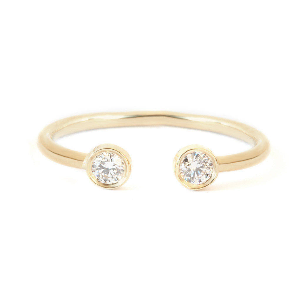 Two Diamond Cuff Ring - sillyshinydiamonds