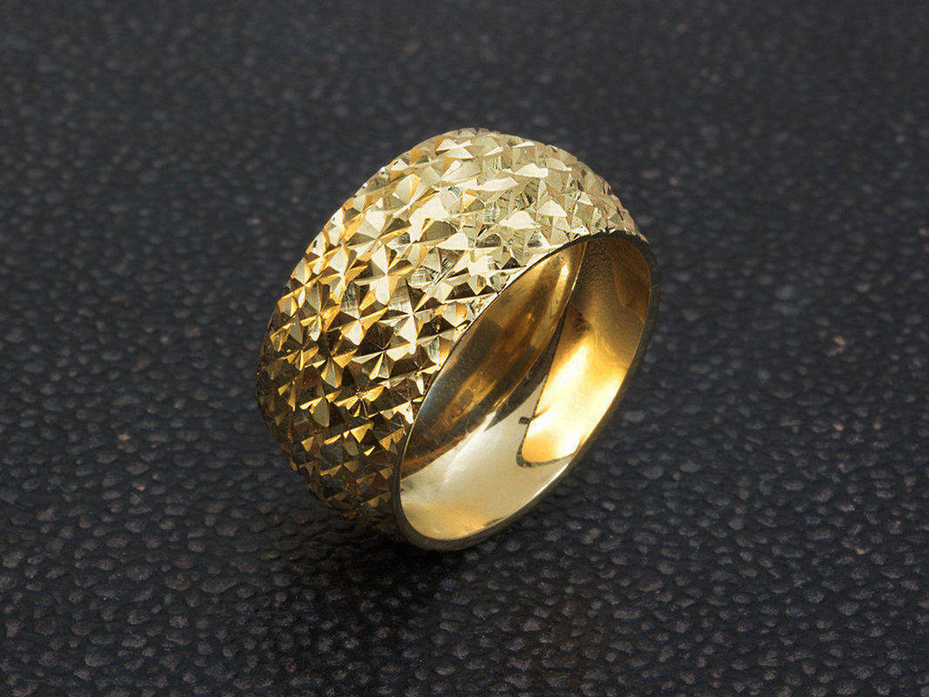 Textured Shiny Cut Finish Wide Wedding Ring