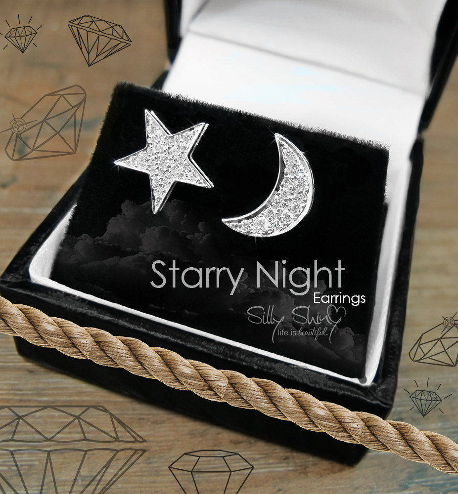 Celestial Moon & Star Diamond Stud Earnings - sillyshinydiamonds