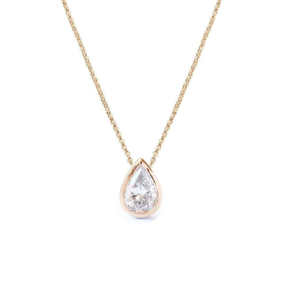 Pear Diamond Bezel Setting Pendant Necklace - sillyshinydiamonds