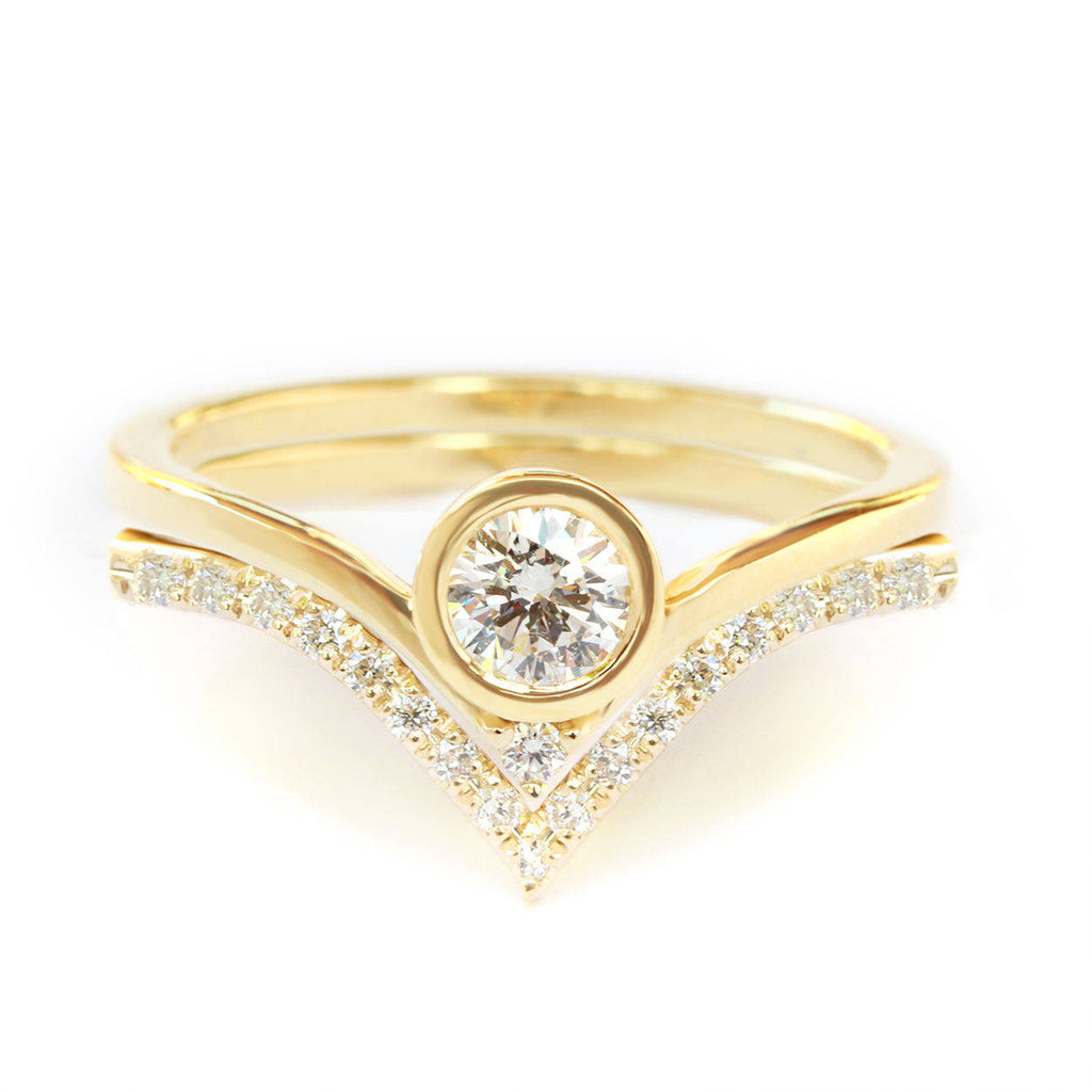Bindi Solitaire Diamond V  Engagement Ring