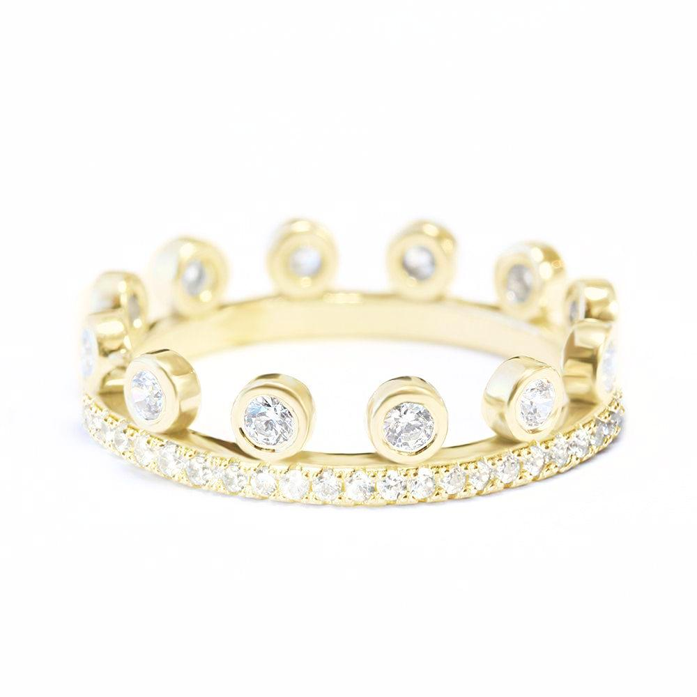 Tiara Crown Unique Eternity Diamond Wedding Ring - sillyshinydiamonds