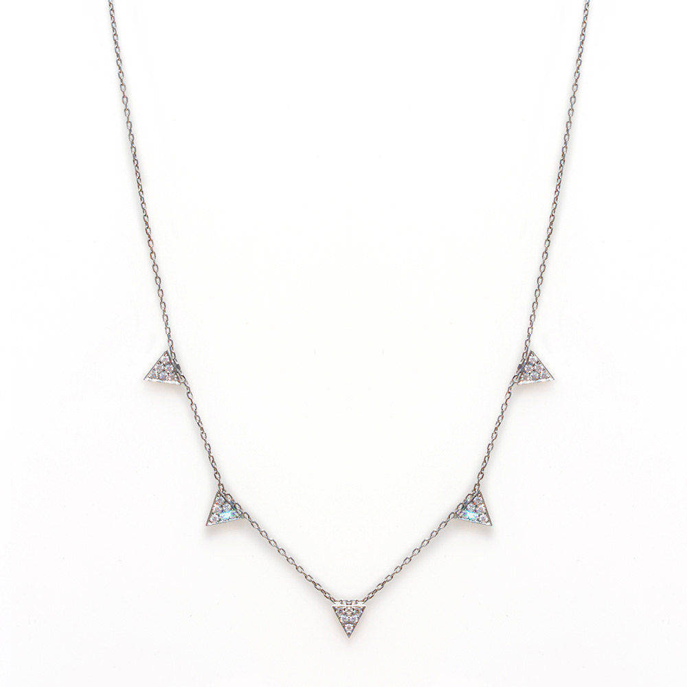 5 Diamonds Triangles Necklace - sillyshinydiamonds