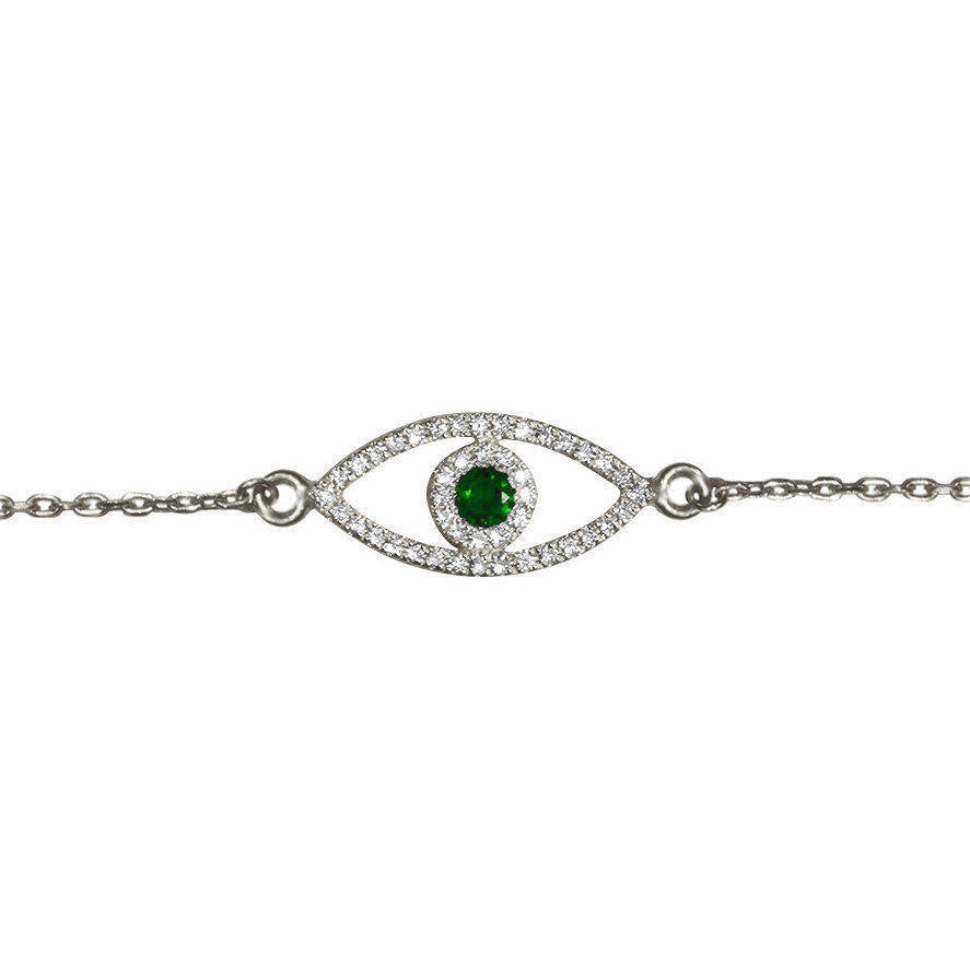 Evil Eye Diamond Bracelet With Green Emerald - sillyshinydiamonds