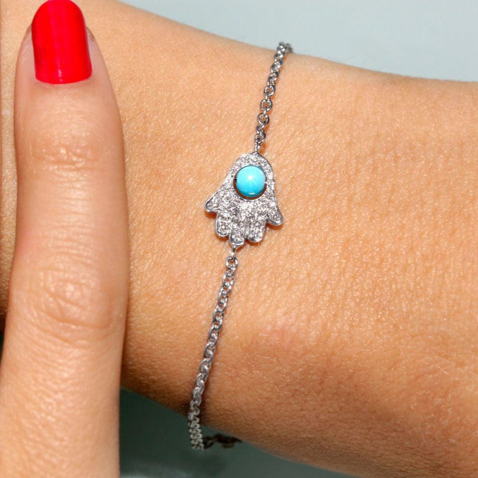 Turquoise & Diamonds Evil Eye Hand Bracelet - sillyshinydiamonds