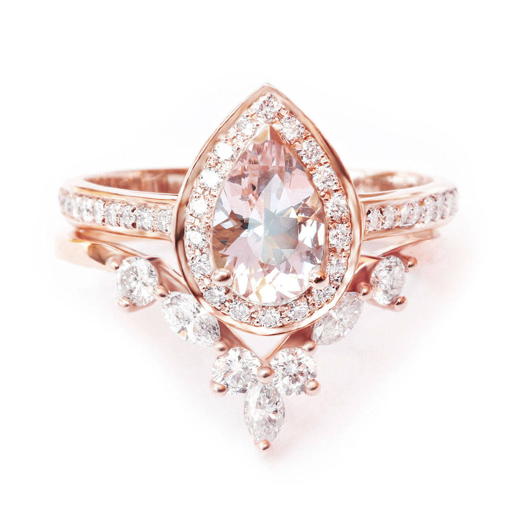 Nia & Hermes - Pear Morganite & Diamond Halo Ceremonial Ring set - sillyshinydiamonds