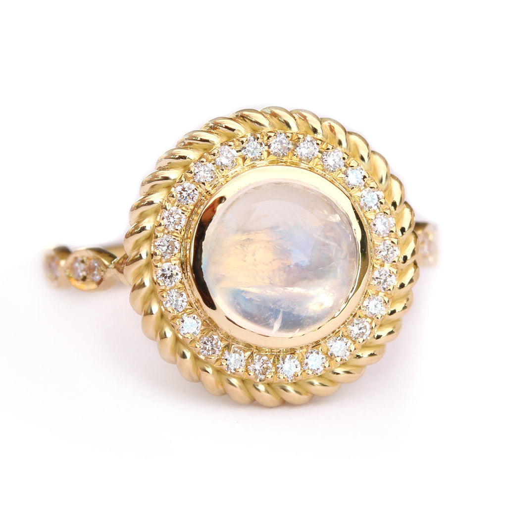 Storm - Moonstone & Diamonds Halo Unique Ring Cocktail Ring - sillyshinydiamonds