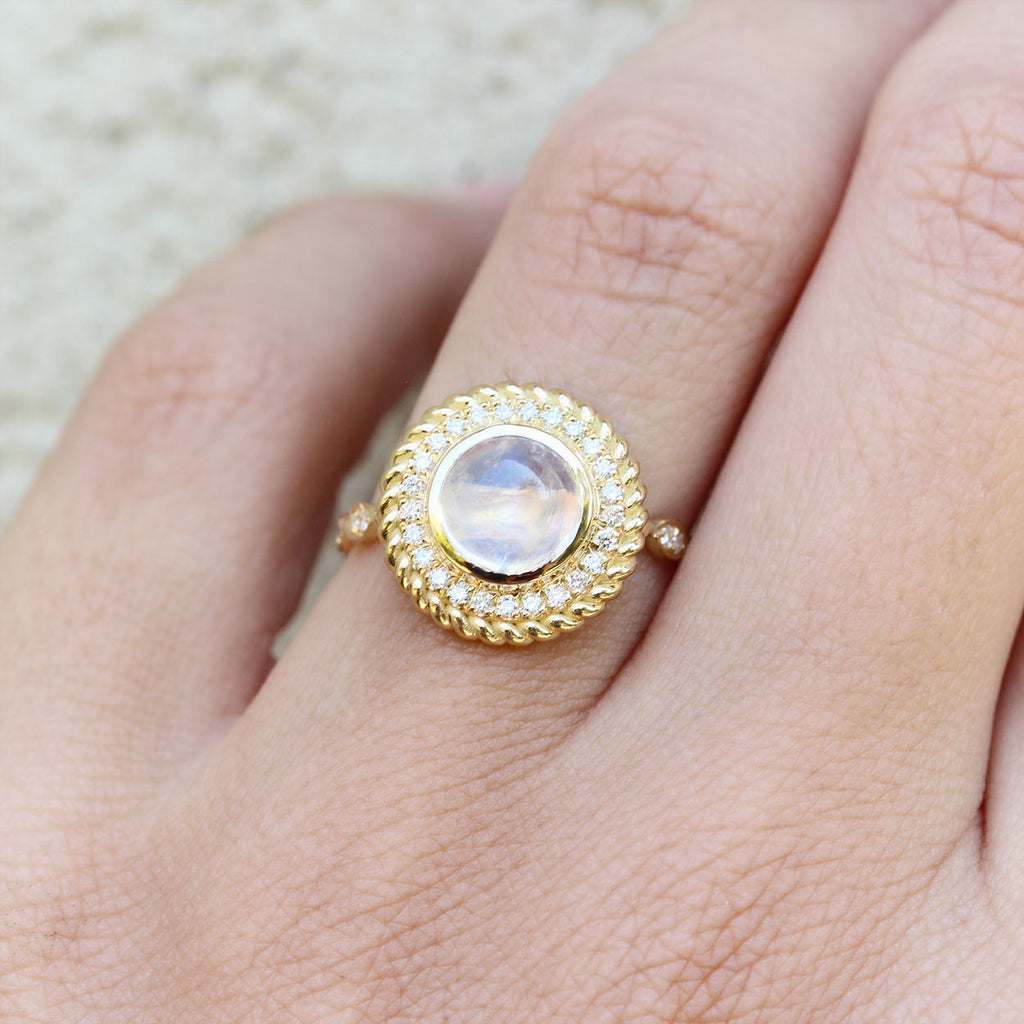 Storm - Moonstone & Diamonds Halo Unique Ring Cocktail Ring