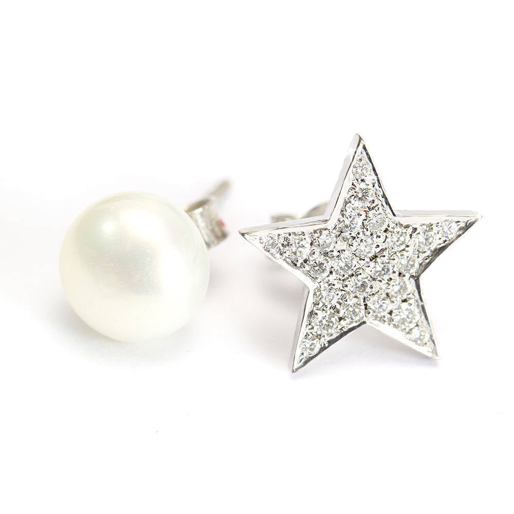 Star Diamond & Pearl Moon Unique Celestial Stud Earrings - sillyshinydiamonds