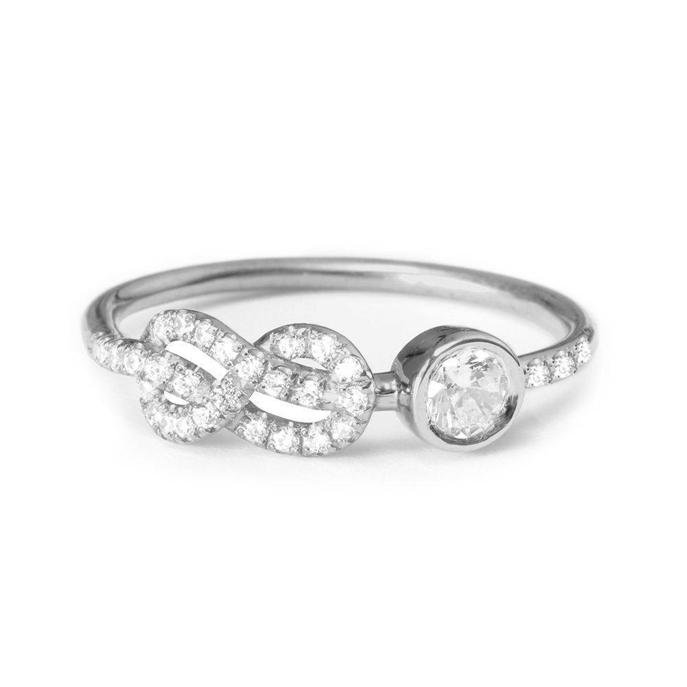 Asymmetric Infinity Knot Diamond Ring - sillyshinydiamonds