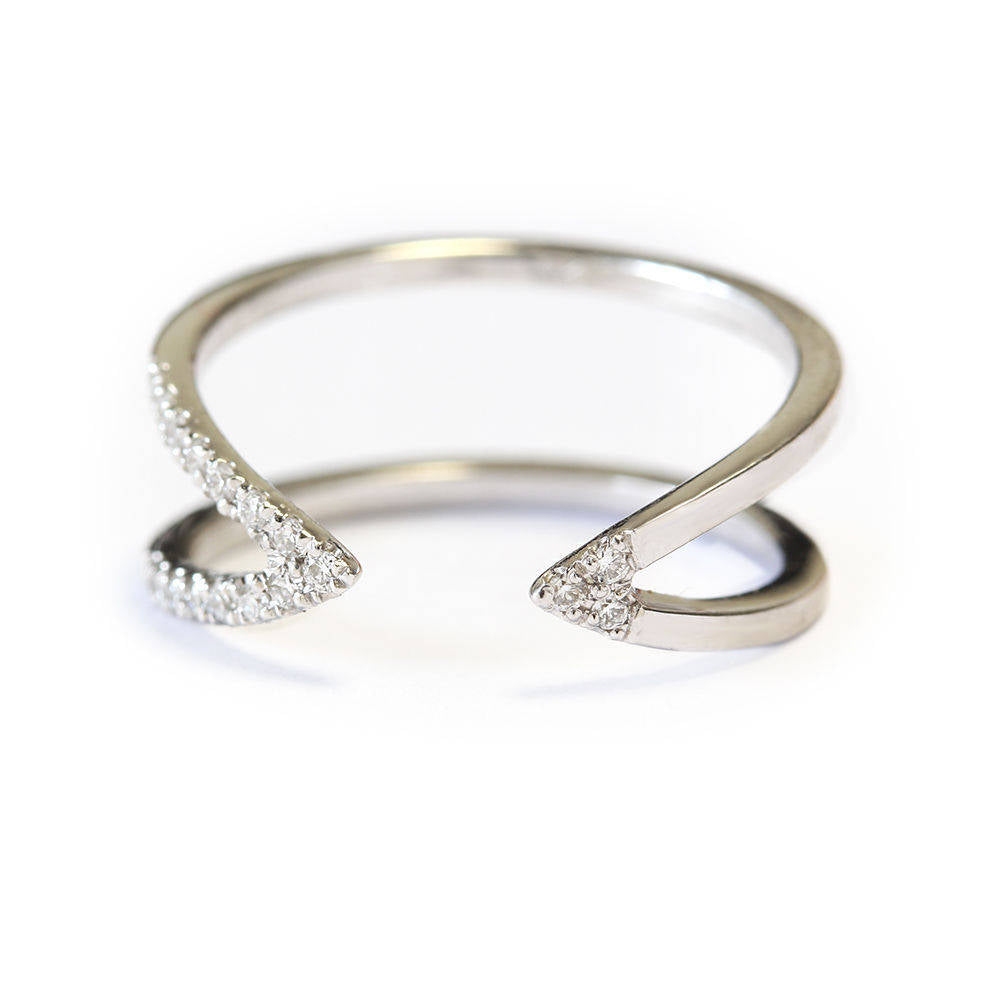 Vertical V Dainty Diamond Cuff Ring