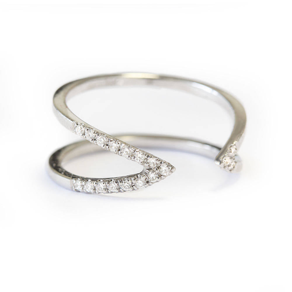 Vertical V Dainty Diamond Cuff Ring - sillyshinydiamonds