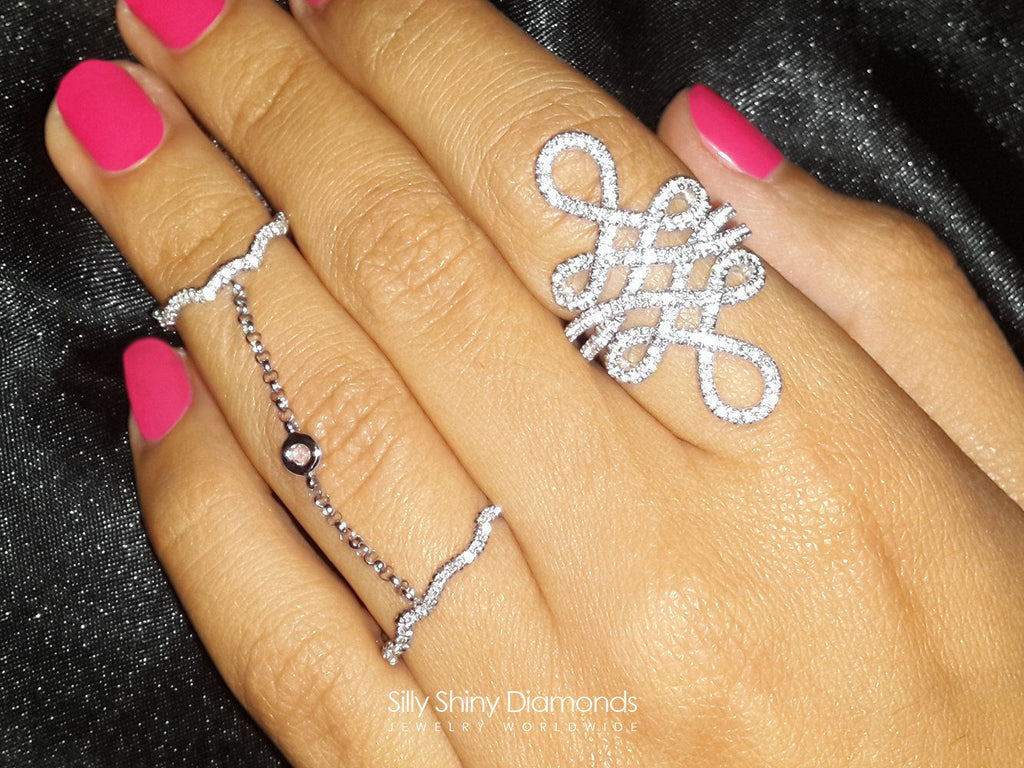 One Finger Double Ring Chain -Zen Garden - sillyshinydiamonds
