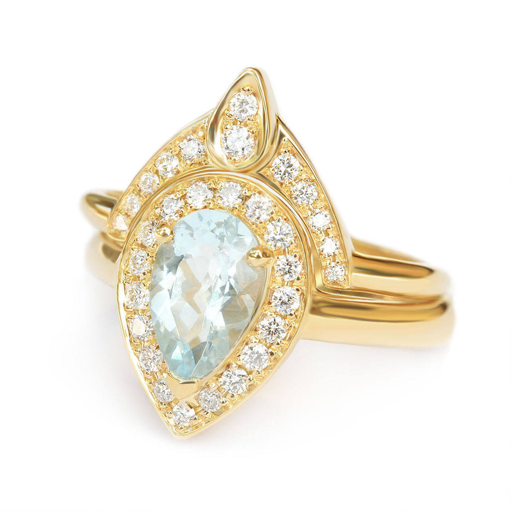 Pear Aquamarine Diamond Halo Ring Bridal Rings Set - The 3rd Eye - sillyshinydiamonds
