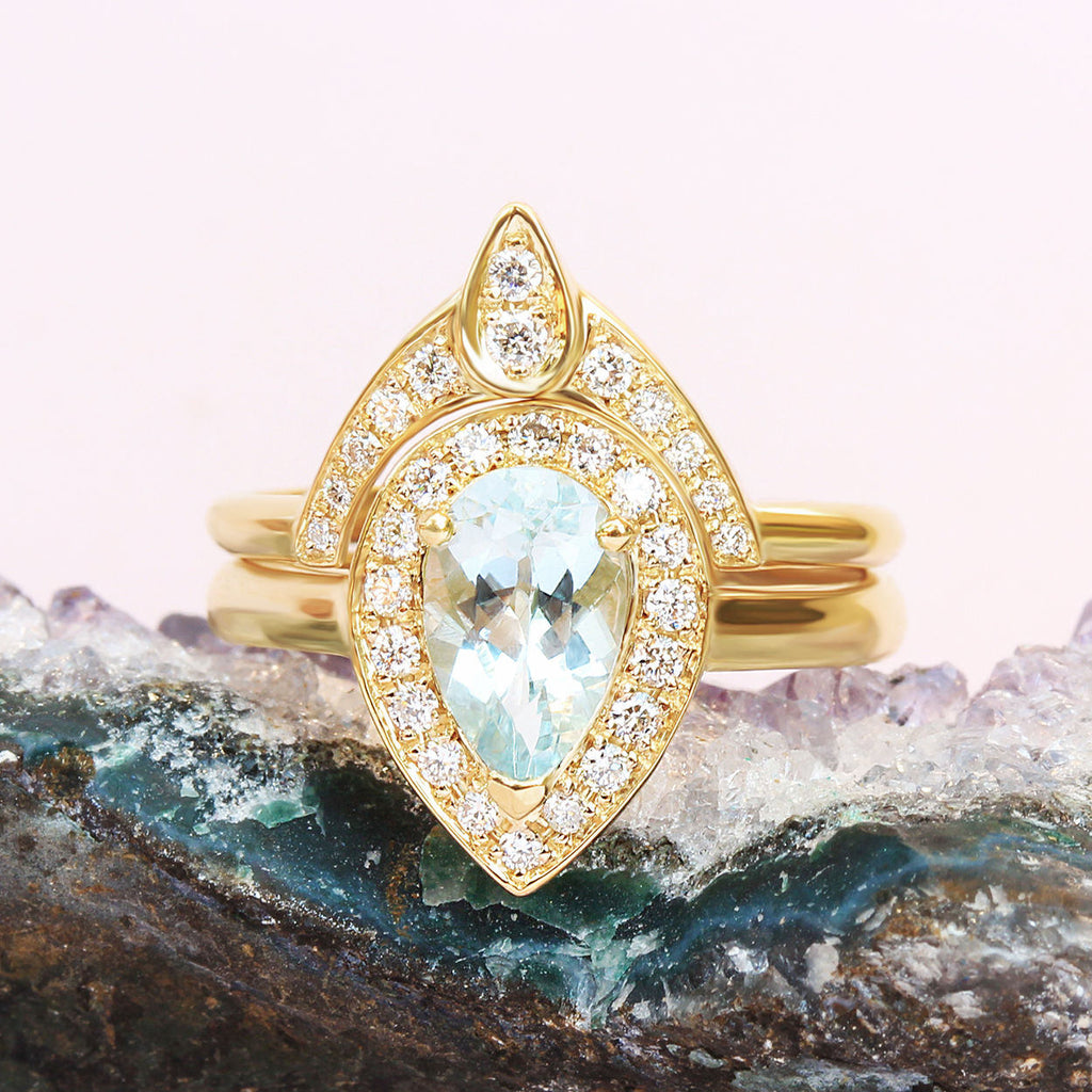 Pear Aquamarine Diamond Halo Ring Bridal Rings Set - The 3rd Eye