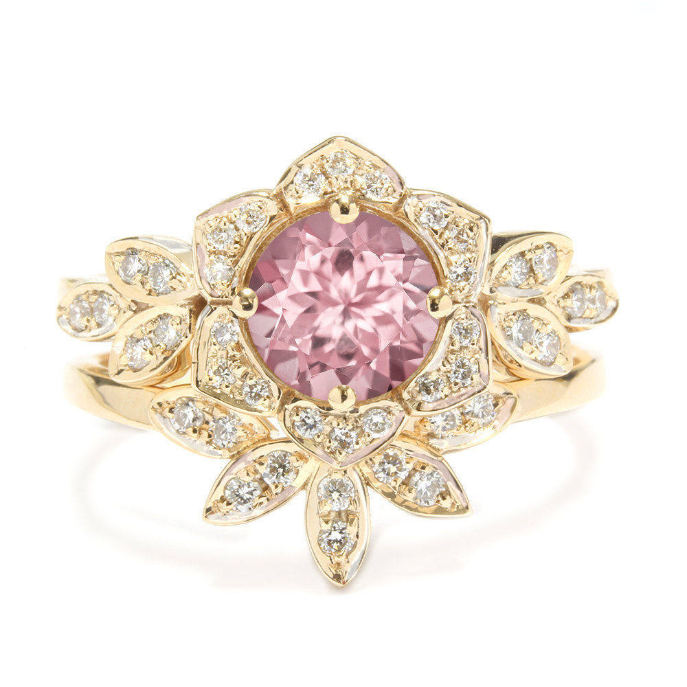 Tourmaline & Diamonds Lily Flower Unique Engagement Ring Set