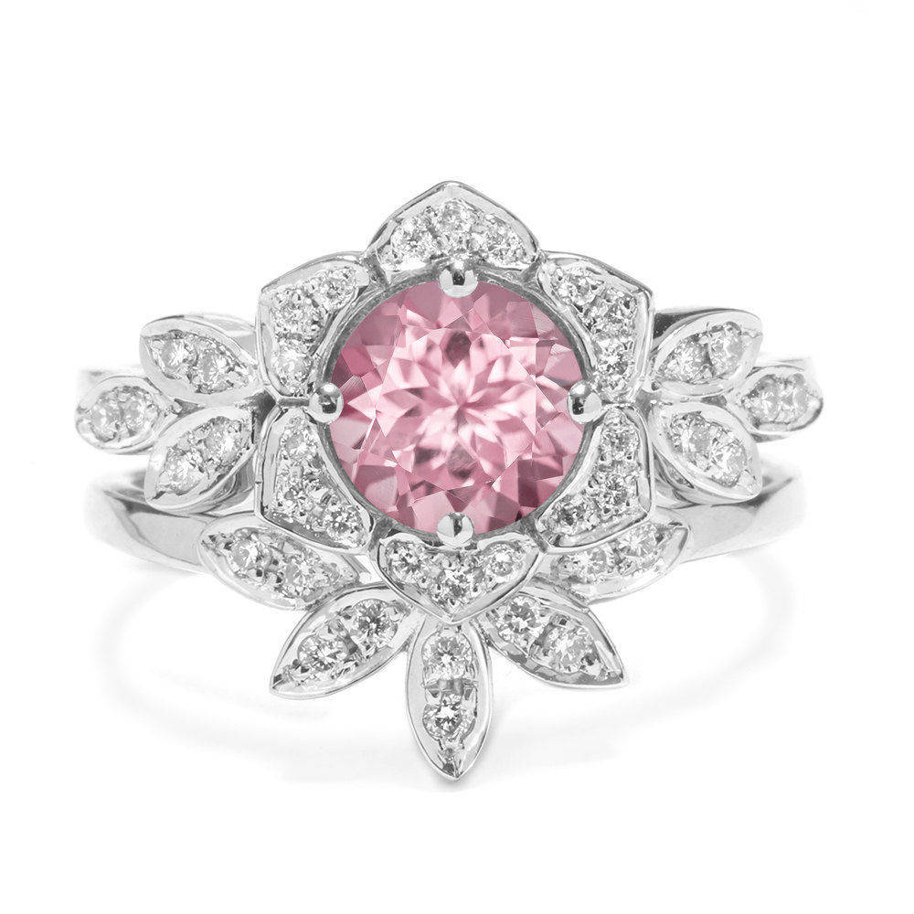 Tourmaline & Diamonds Lily Flower Unique Engagement Ring Set - sillyshinydiamonds
