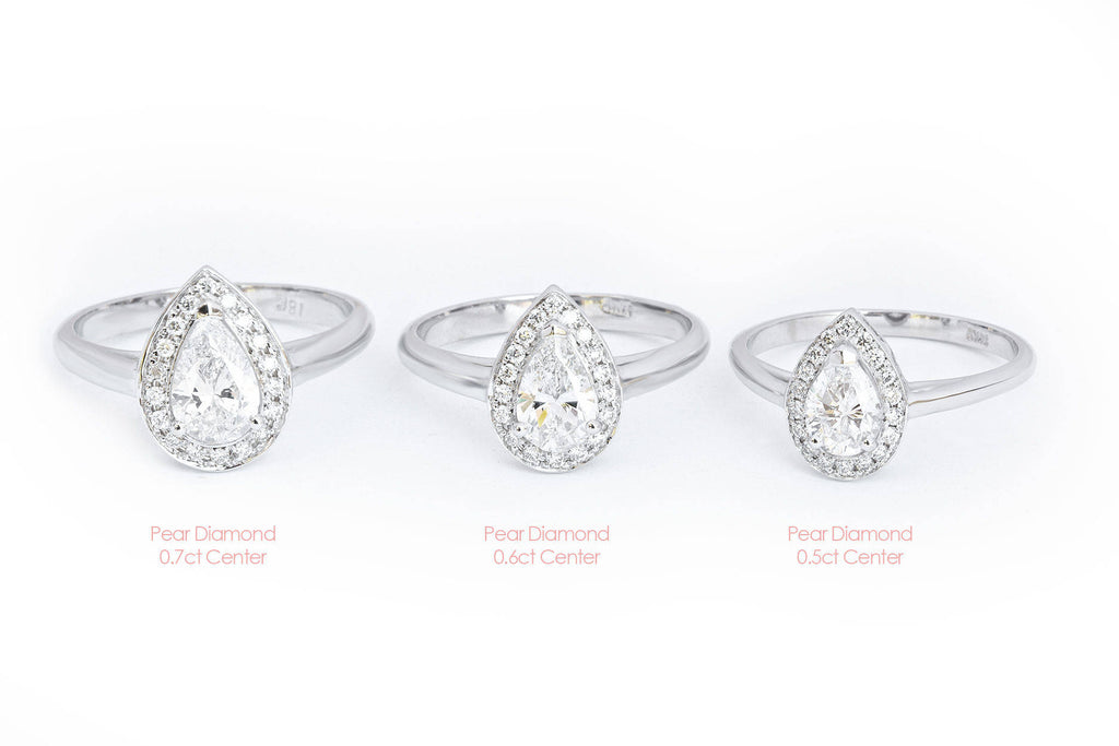 Pear Diamond Halo Wedding Ring Set - The 3rd Eye. Center 0.5 carat. TDW  0.7 carat - sillyshinydiamonds