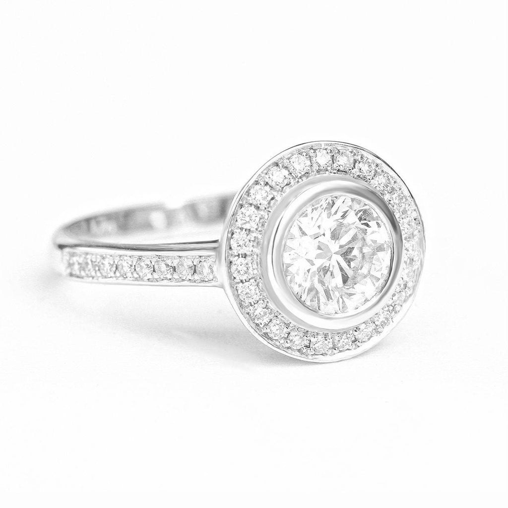 Diamond Halo Beze Setting Classic Engagement Ring
