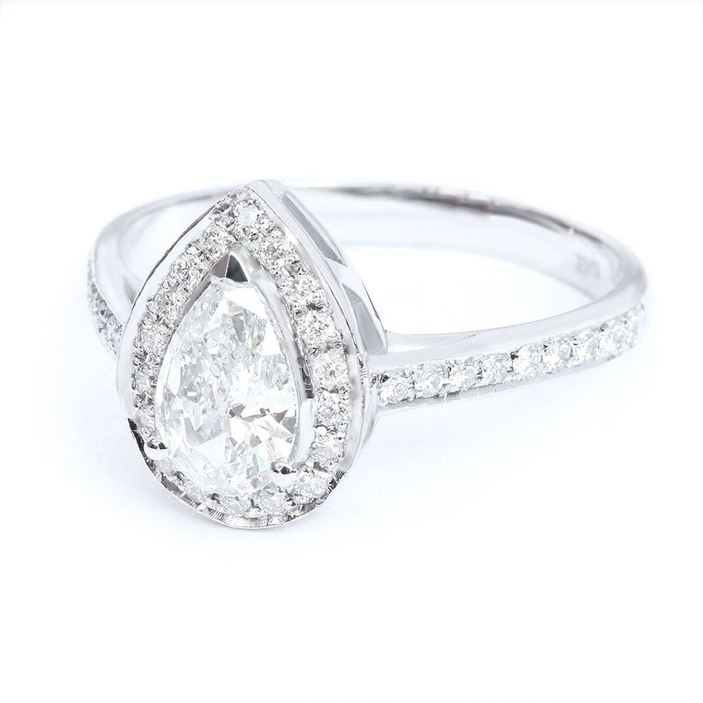 Pear Diamond 0.7ct Halo Classic Engagement Ring,  GIA certificated - sillyshinydiamonds