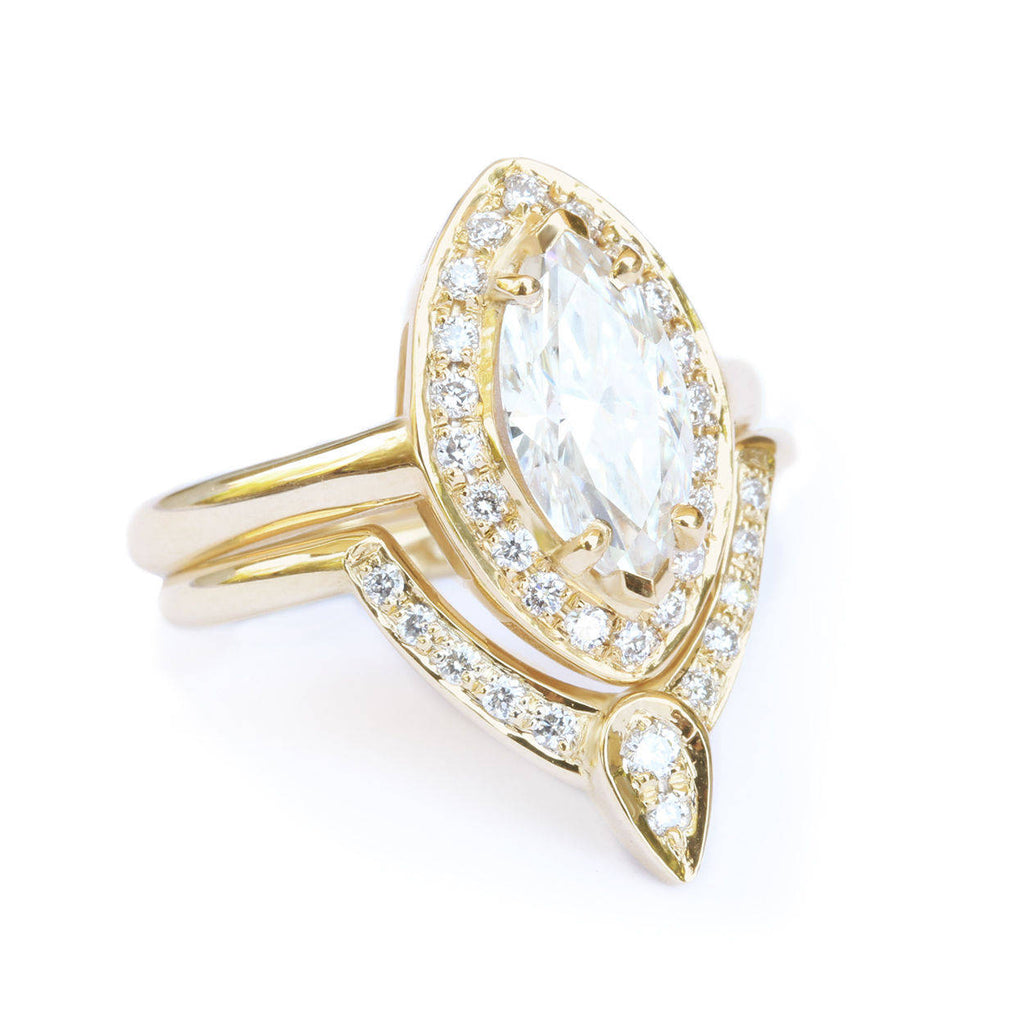 Marquise Diamond 1.1ct Engagement & Wedding, Bridal Rings Set, The 3rd Eye - sillyshinydiamonds