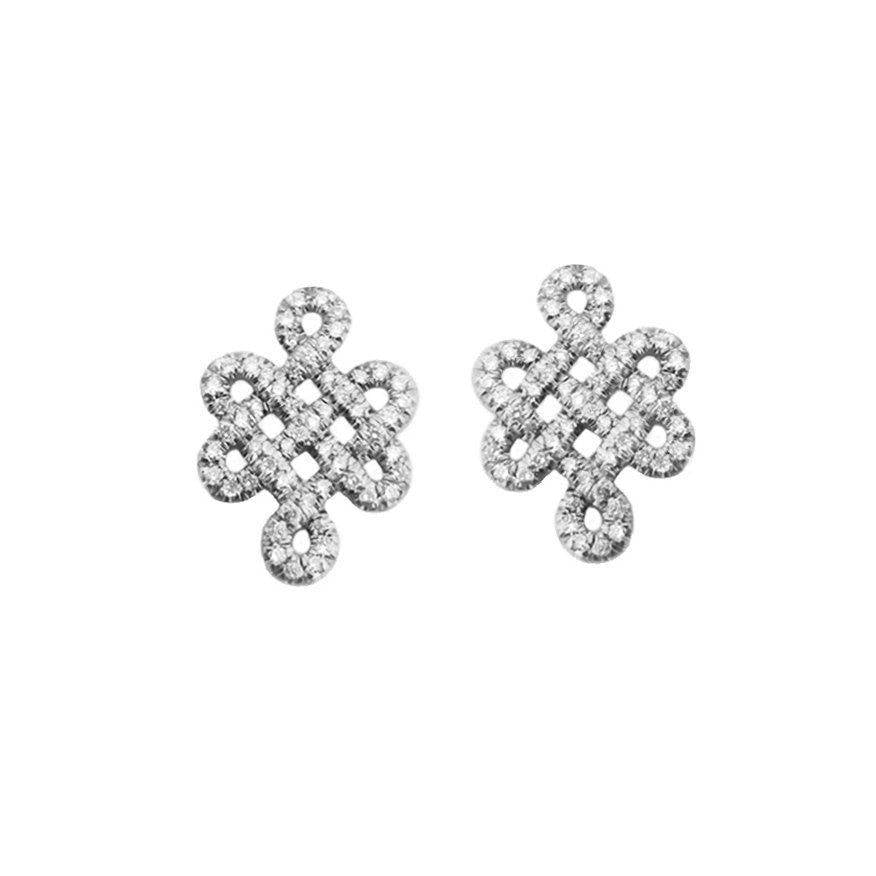 Tibetan symbol of Endless Love, Diamond Stud Earrings - sillyshinydiamonds
