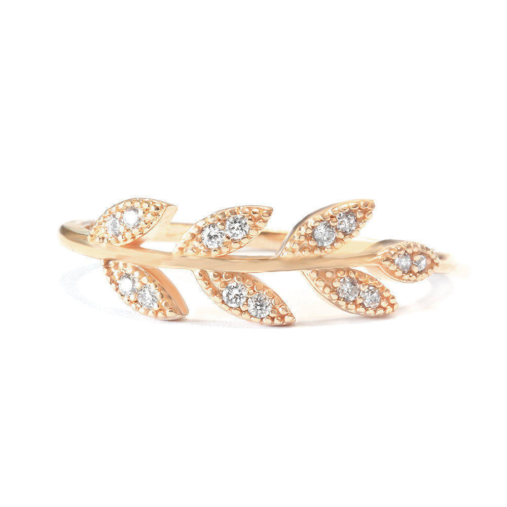 Diamond Leaves Twig Branch Wedding Band - sillyshinydiamonds
