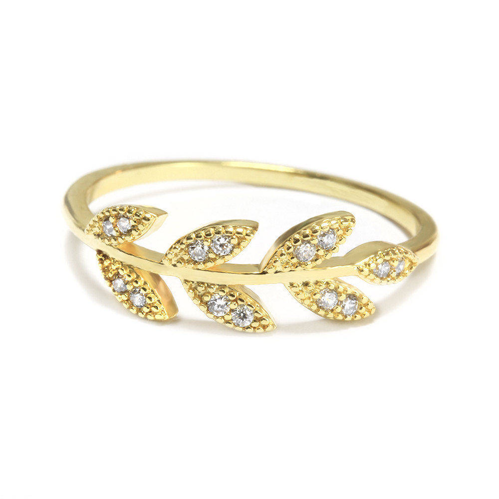 Diamond Leaves Twig Branch Wedding Band