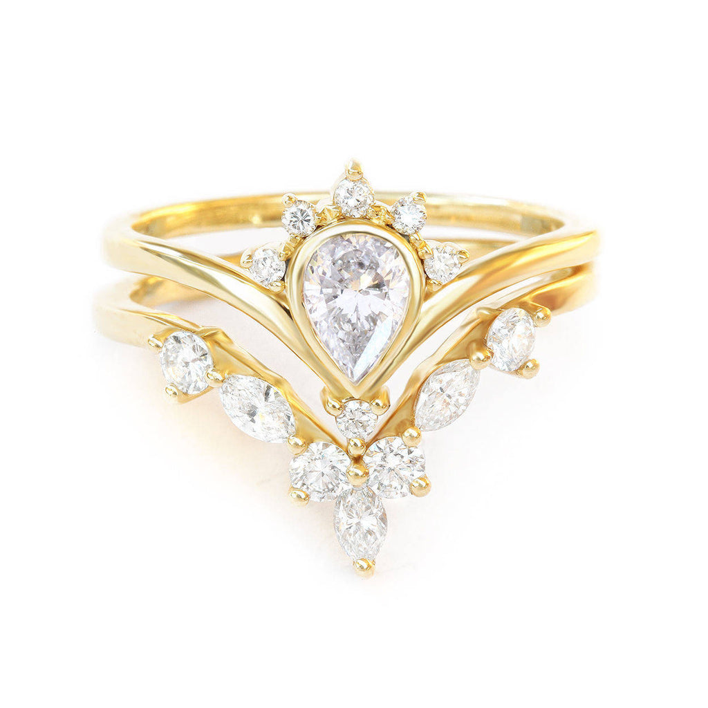 Pear diamond Unique Engagement Rings Set Valentia & Hermes - sillyshinydiamonds
