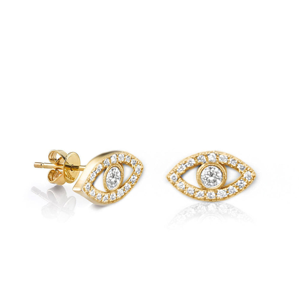 Tiny Evil Eye Diamond Stud Earings