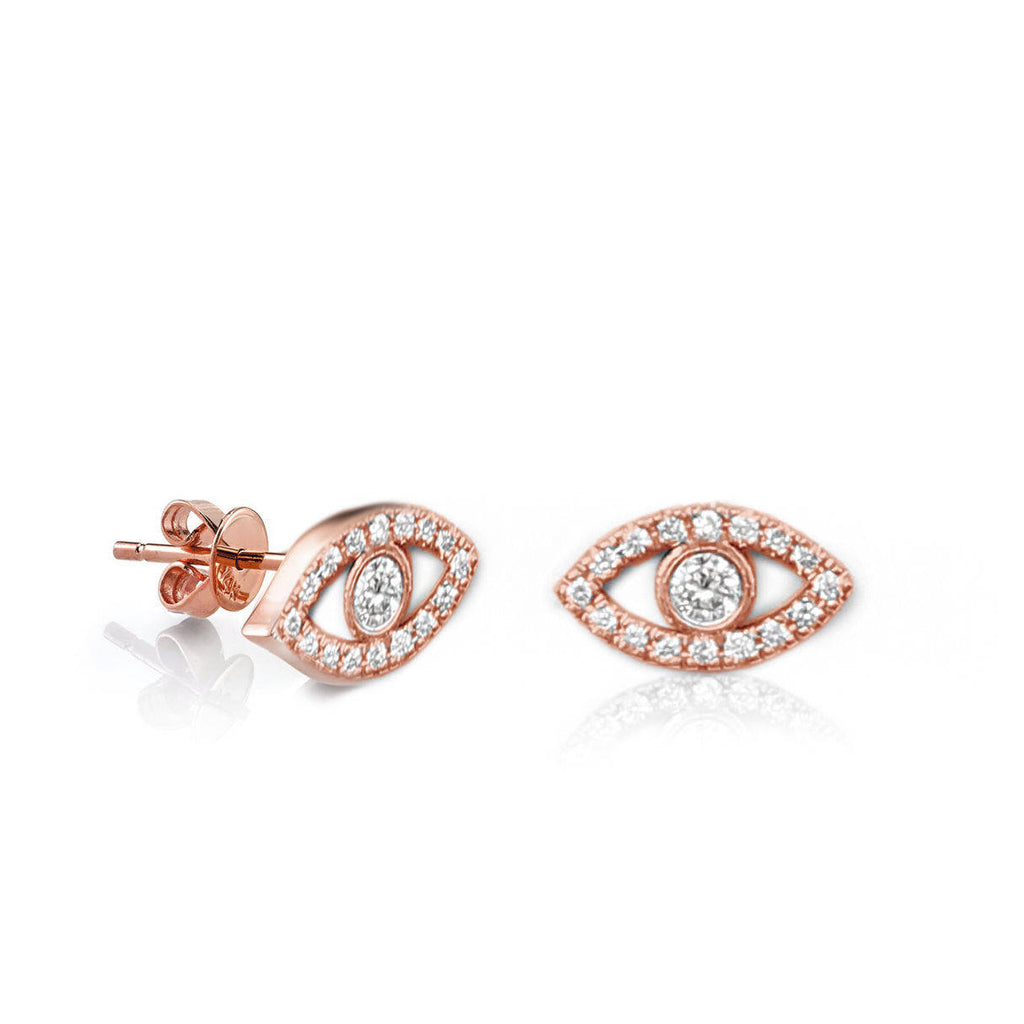 Tiny Evil Eye Diamond Stud Earings - sillyshinydiamonds
