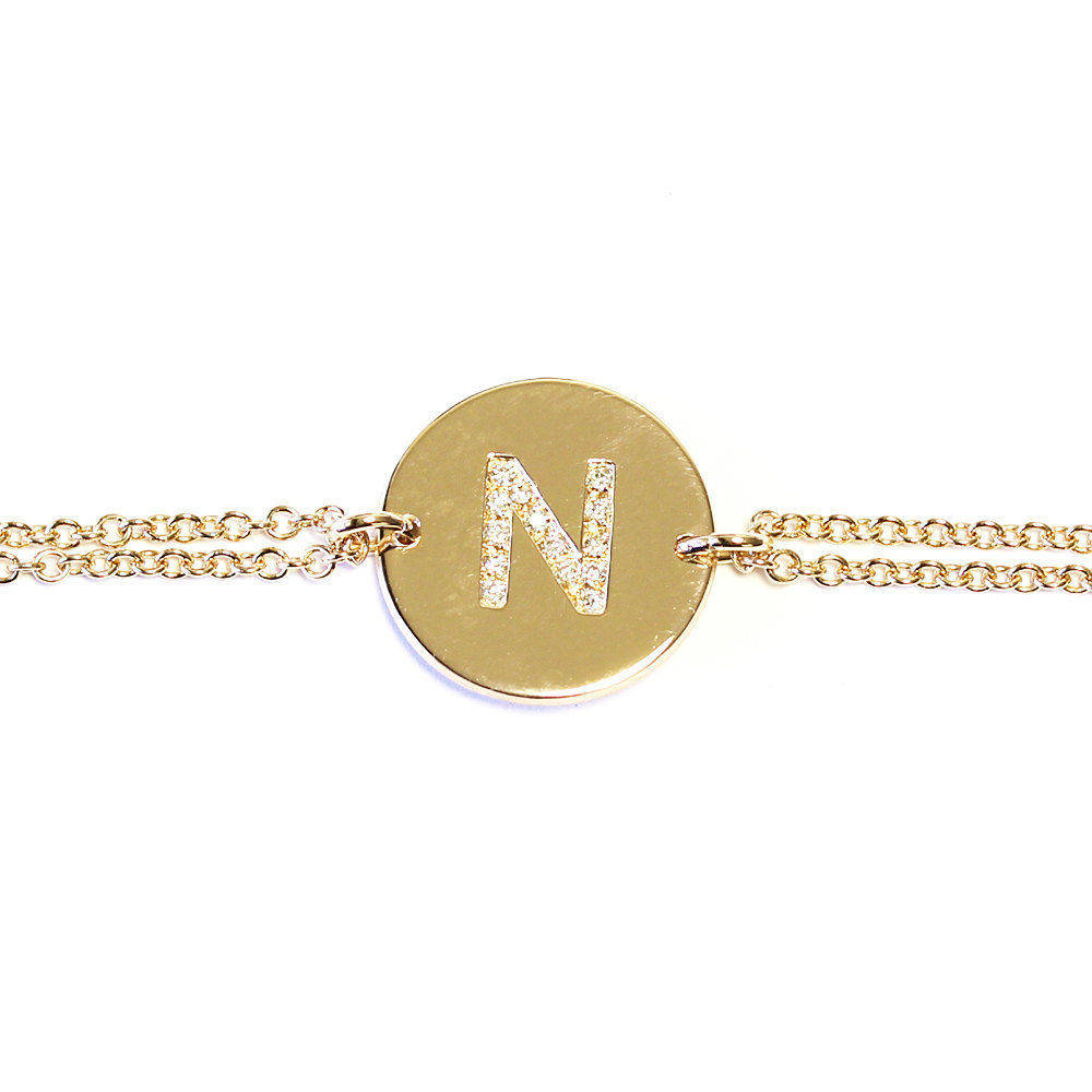 Initial Personalized Gold & Diamond ID Bracelet