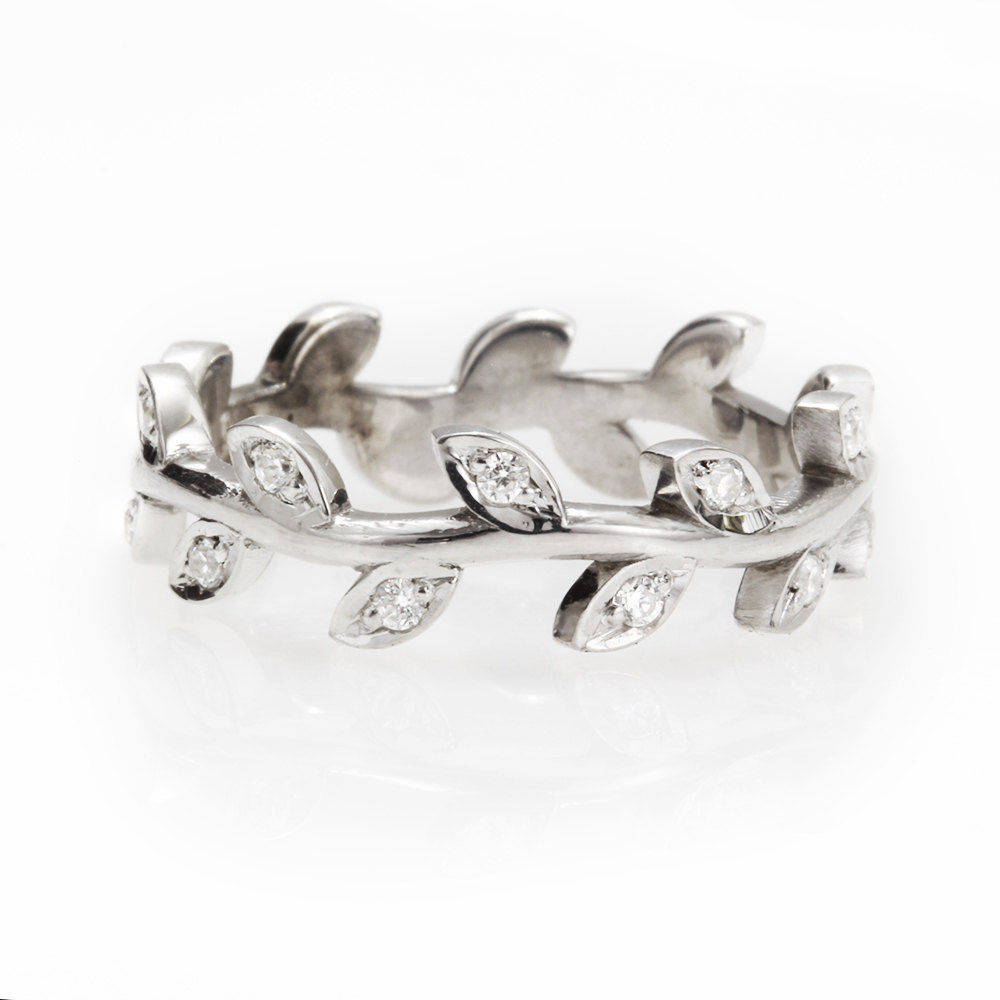 Leaves crown wedding ring - sillyshinydiamonds