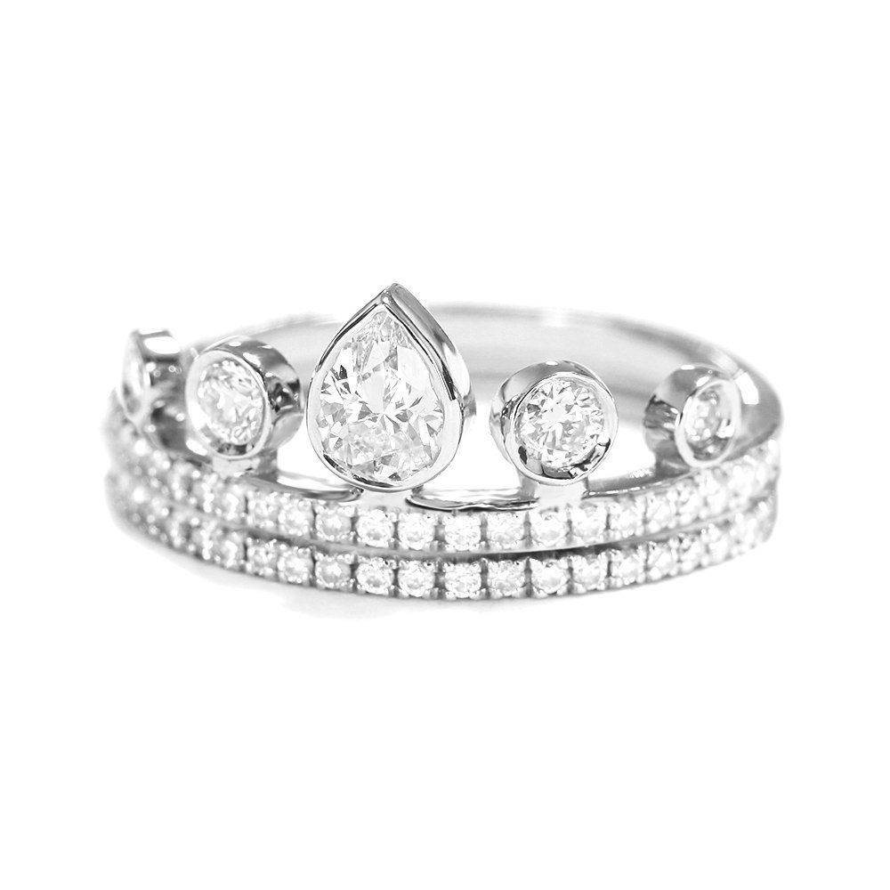 Meraki Pear Diamond Crown Tiara Unique Stacking Rings Set