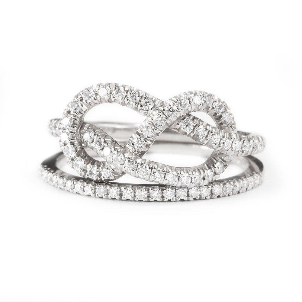 Infinity Knot Diamond Ring With Eternity Diamond Band - sillyshinydiamonds
