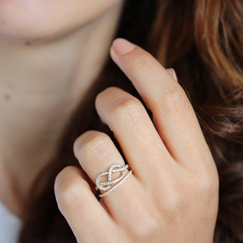 Infinity Knot Diamond Ring With Eternity Diamond Band