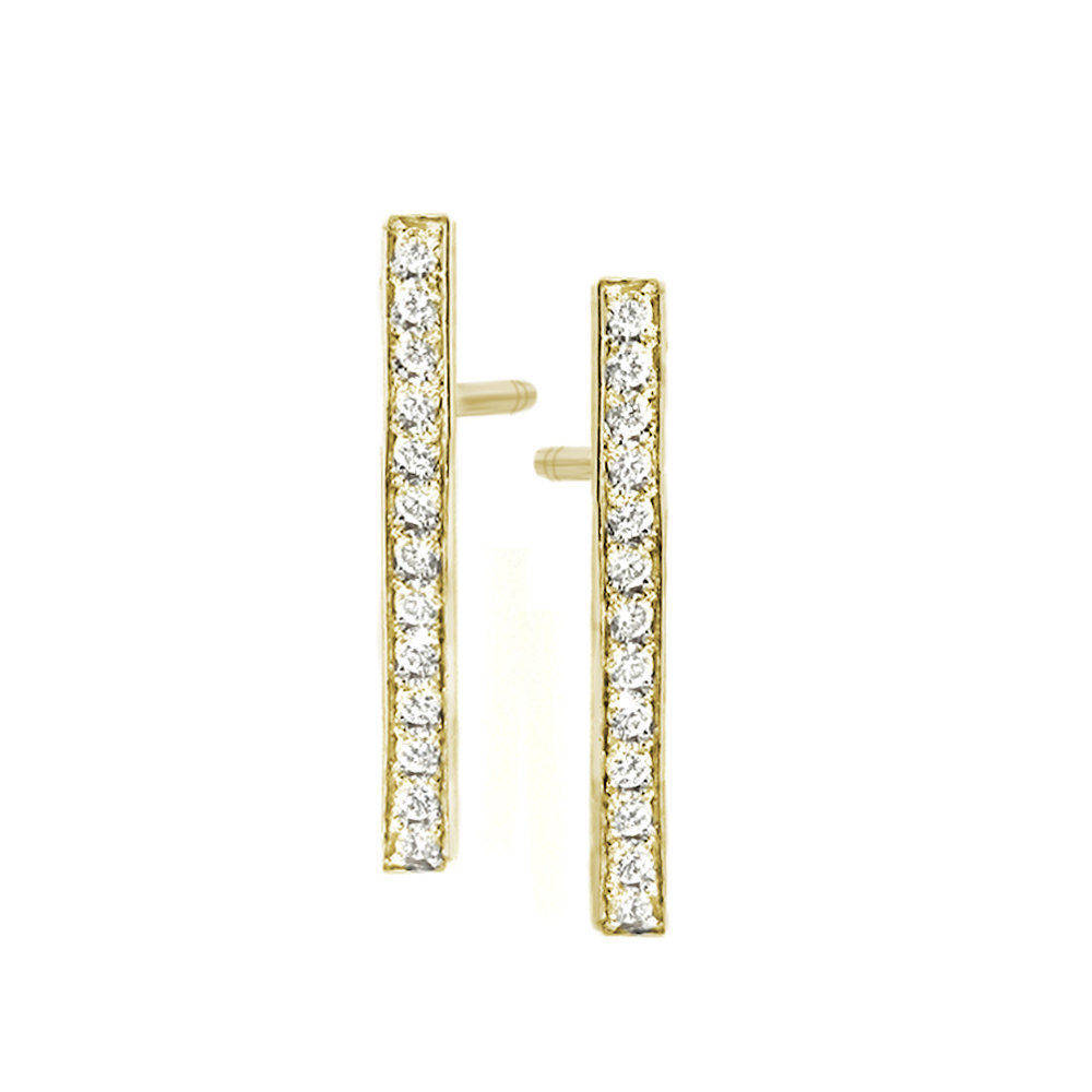 Diamond Bar, Dainty & Minimal Diamond Stud Earrings
