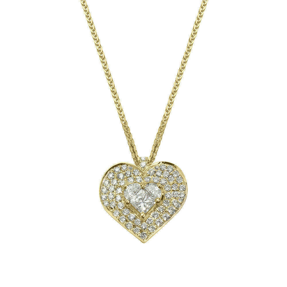 Lady Heart Diamond Double Halo Necklace