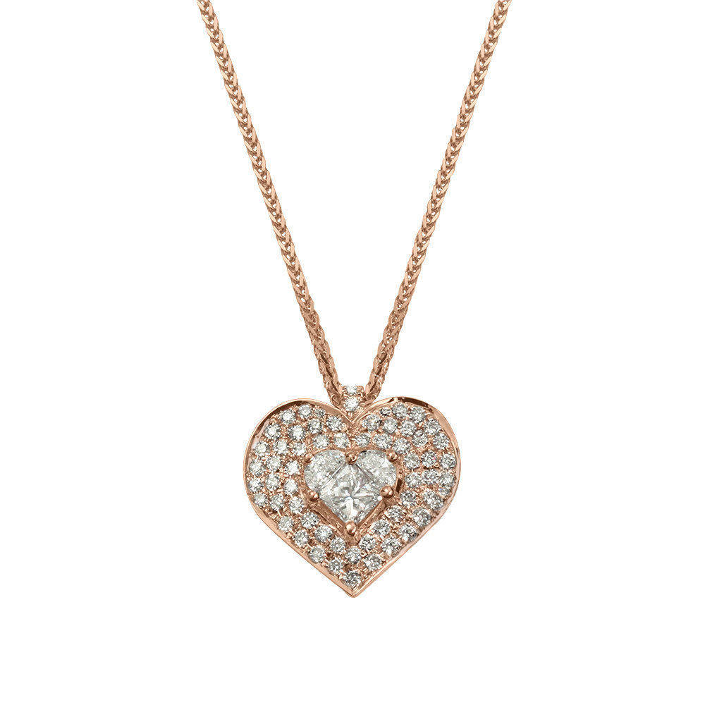 Lady Heart Diamond Double Halo Necklace - sillyshinydiamonds
