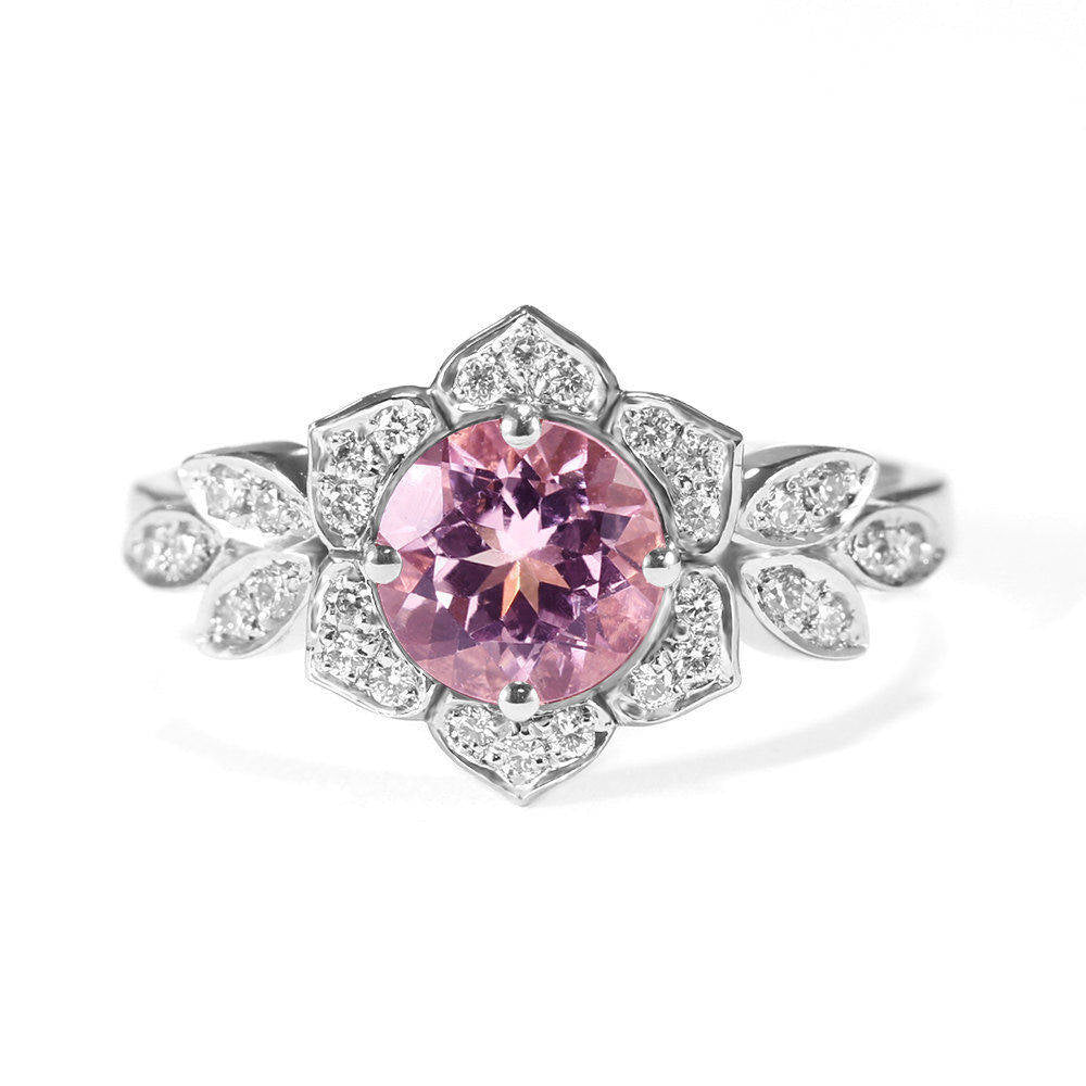 Tourmaline & Diamond Lily Flower Engagement Ring - sillyshinydiamonds
