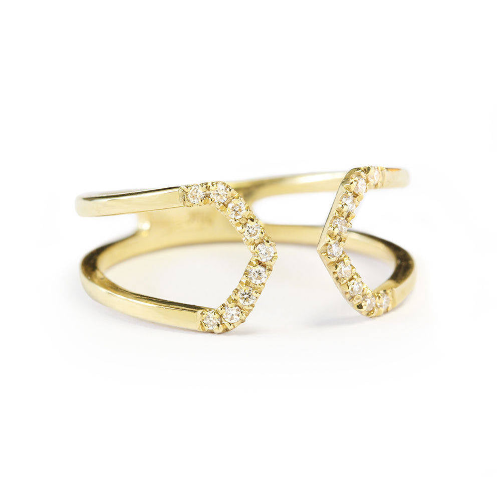 Tapered Diamond Cuff Ring - sillyshinydiamonds