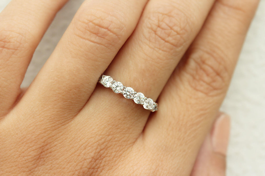 5 Diamonds Wedding Ring, Anniversary Diamond ring - sillyshinydiamonds