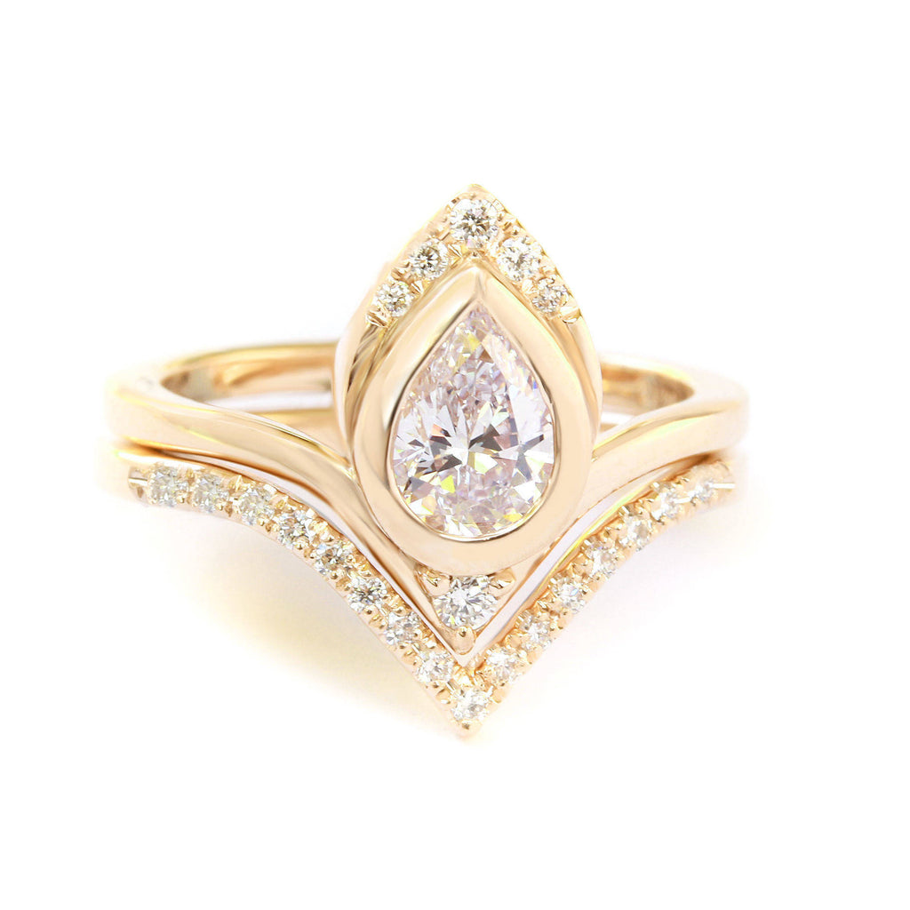 Pear Diamond Unique Engagement Rings Set,  Atyasha & Matching Chevron V Wedding Band