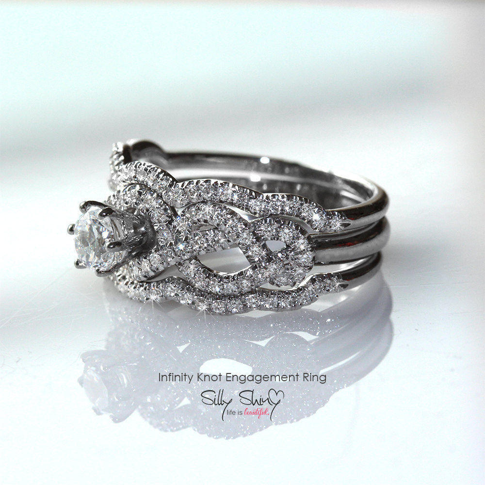 Infinity Knot Diamond Engagement Two Rings Set - sillyshinydiamonds
