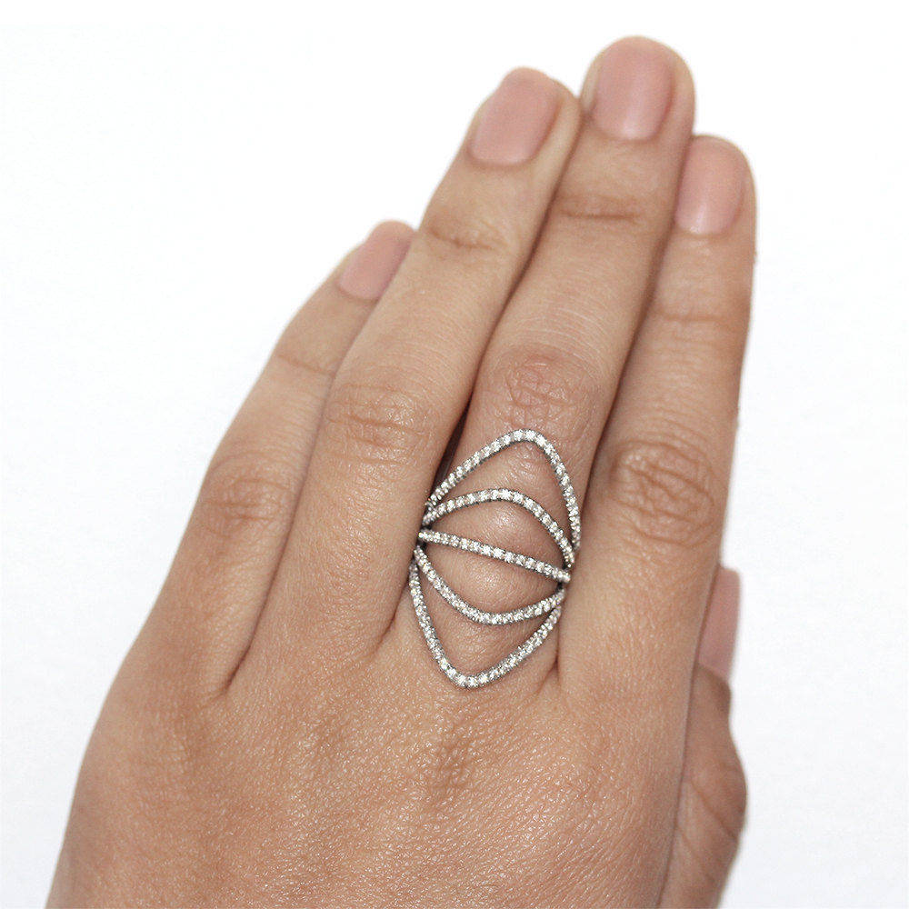 Curvy Diamonds Shield Lace Diamond Ring - sillyshinydiamonds