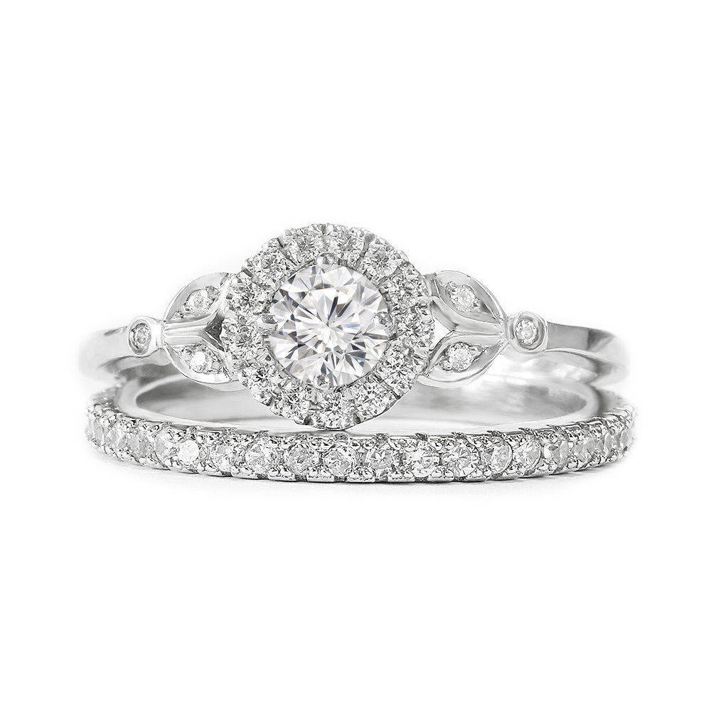 Rome Crown Unique Diamond Engagement Ring with Matching Pave Diamonds Ring, Diamond Wedding Ring set.