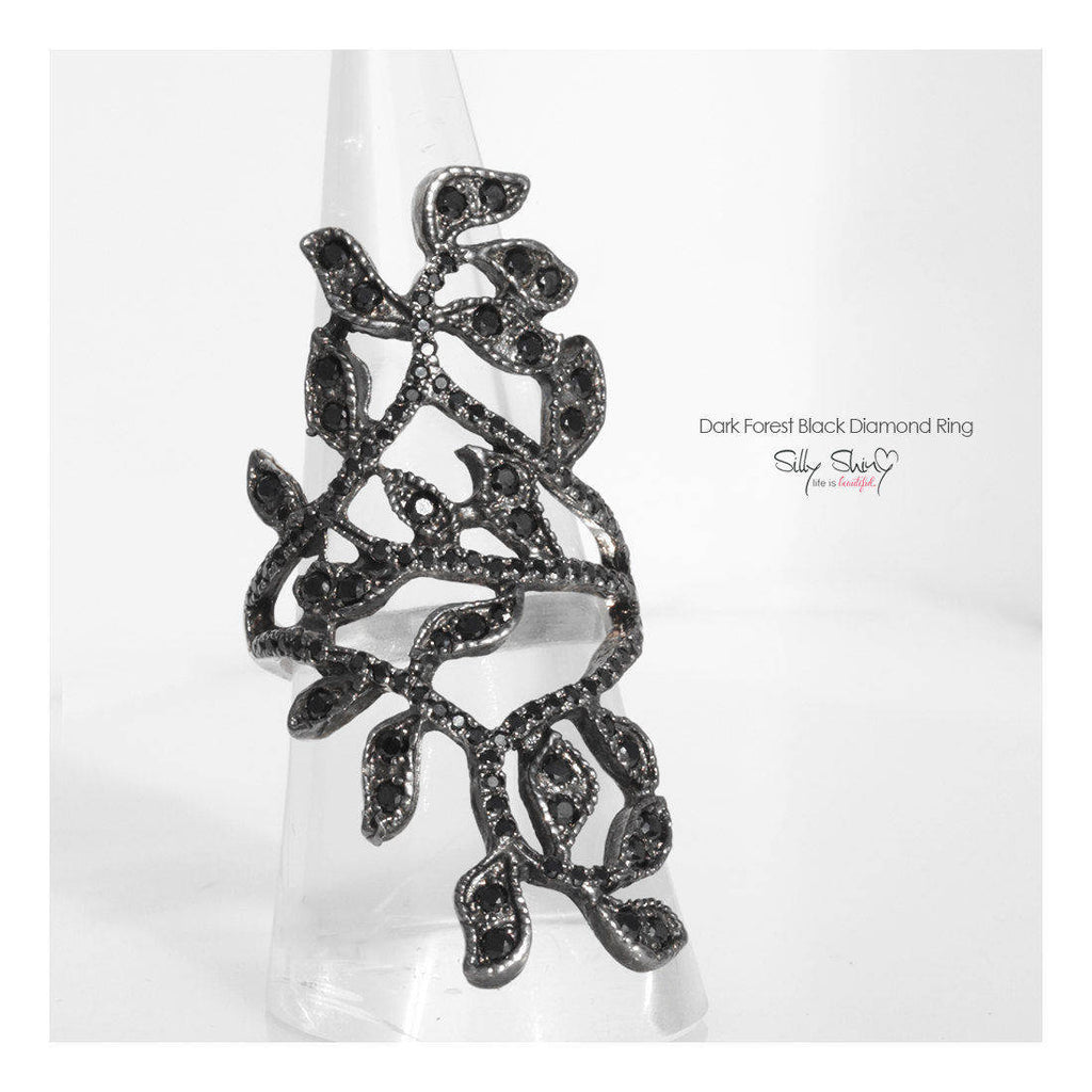 Black Forest Dramatic Lace of Leaves Statement Diamond Ring - sillyshinydiamonds