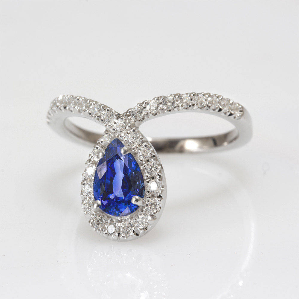 Bliss Pear Sapphire & Loop Diamond Halo Unique Engagement Ring - sillyshinydiamonds