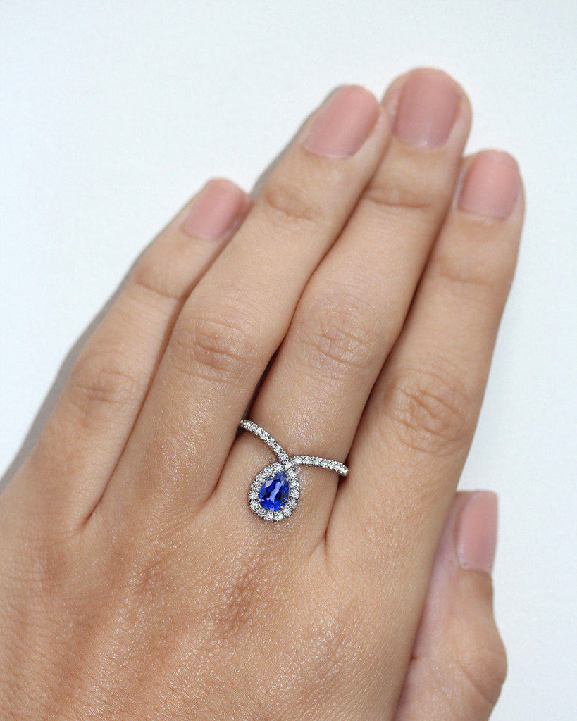 Bliss Pear Sapphire & Loop Diamond Halo Unique Engagement Ring